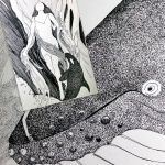 Pen and ink drawings in progress by Annette Abolins