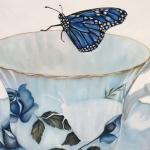 oil on canvas blue butterfly and teacup